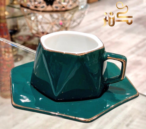 Modern green and gold coffee cups set ( design 2 )