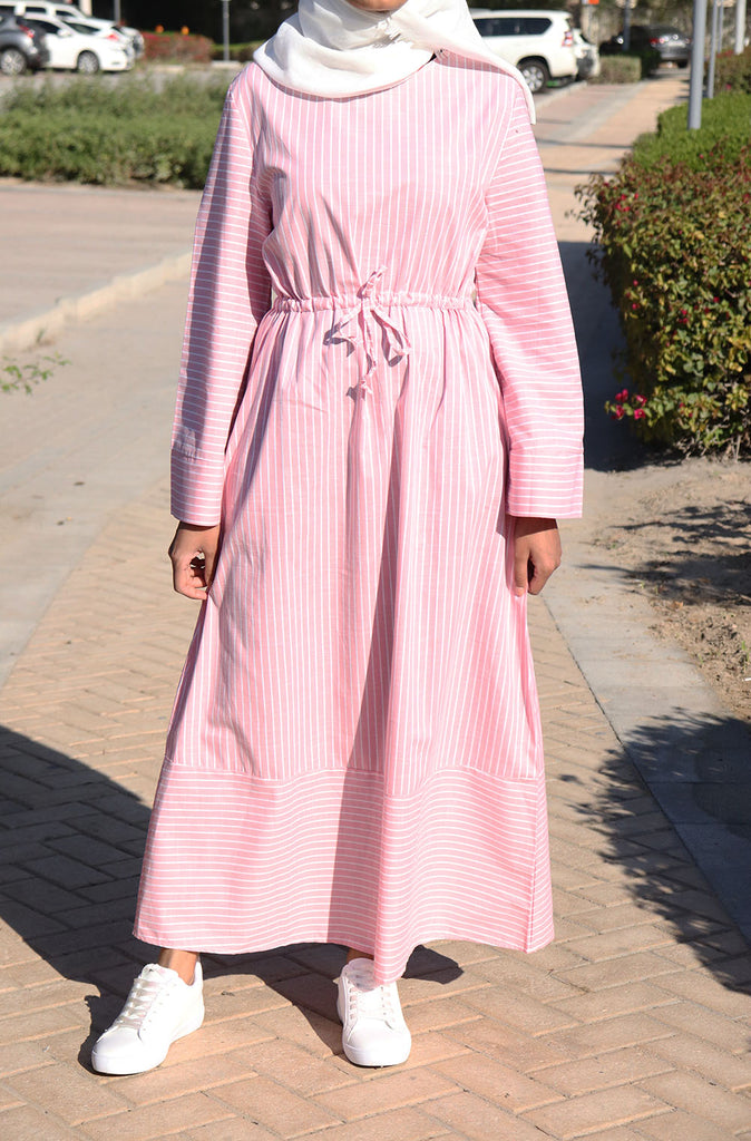 Casual Striped Dress - Pink