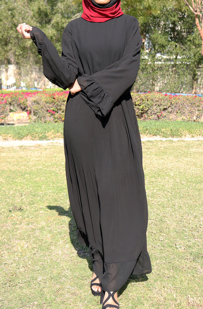 Bell Sleeved Comfy Maxi Dress - Black