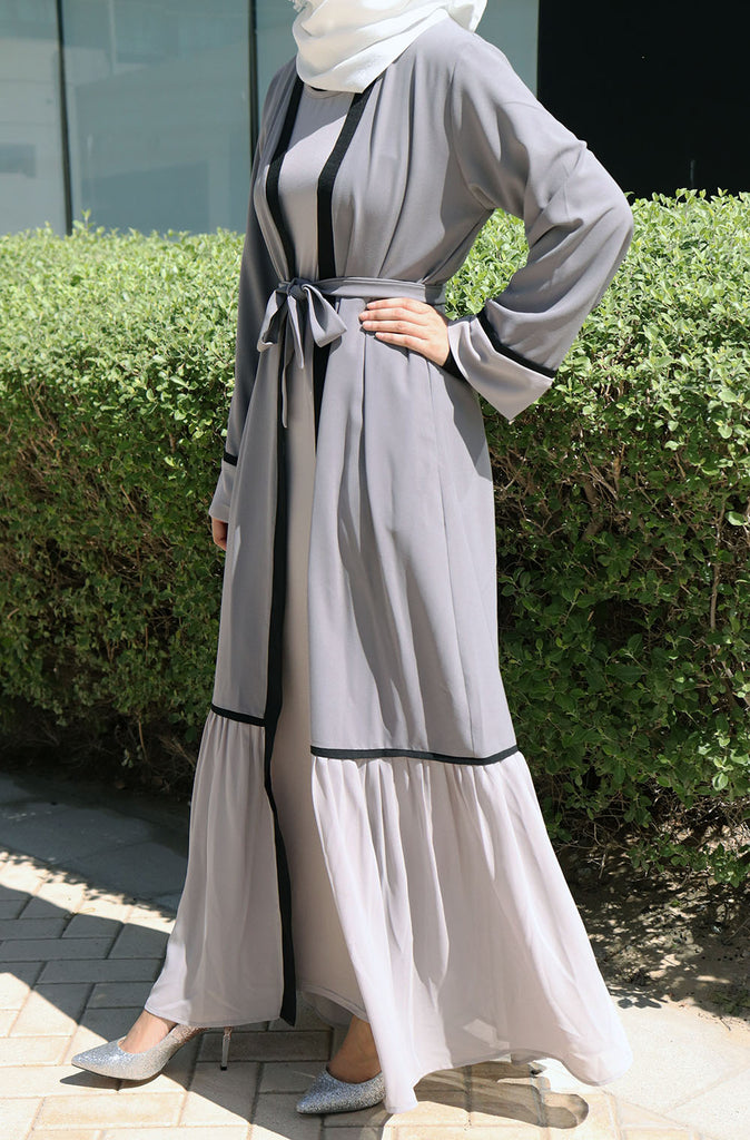 Sophisticated Ruffle Open Abaya