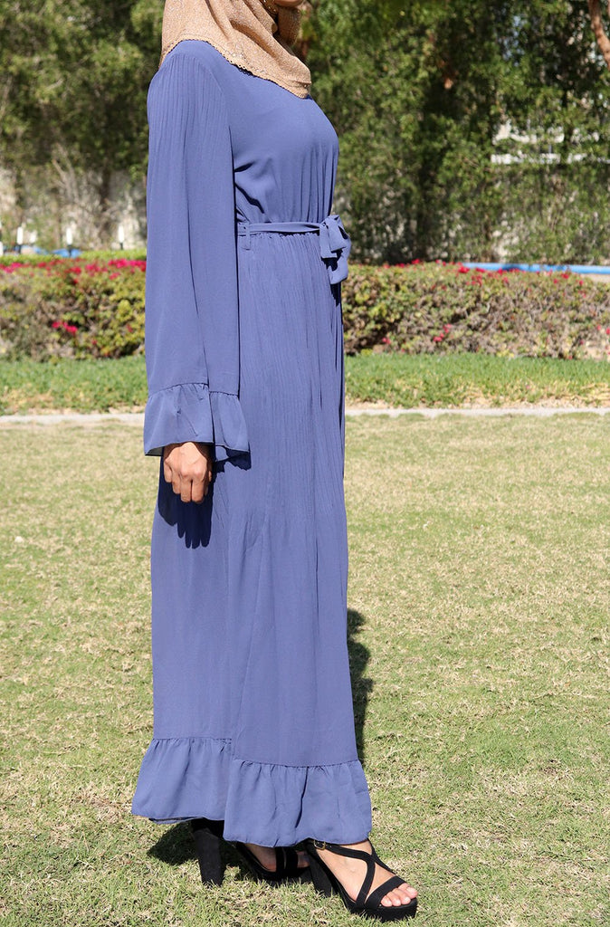 Bell Sleeved Comfy Maxi Dress - Blue