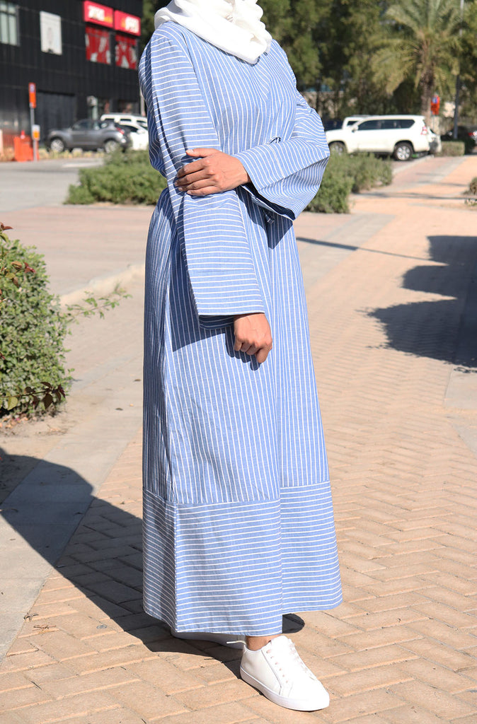 Casual Striped Dress - Blue