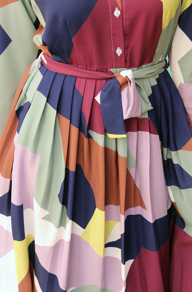 Abstract Pleated Dress