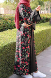 Blooming Flowers Printed Open Abaya