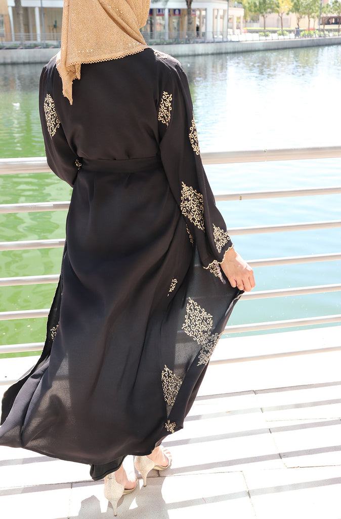 Gold Embroidery Open Abaya