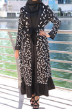 Sequined Leaves Open Abaya