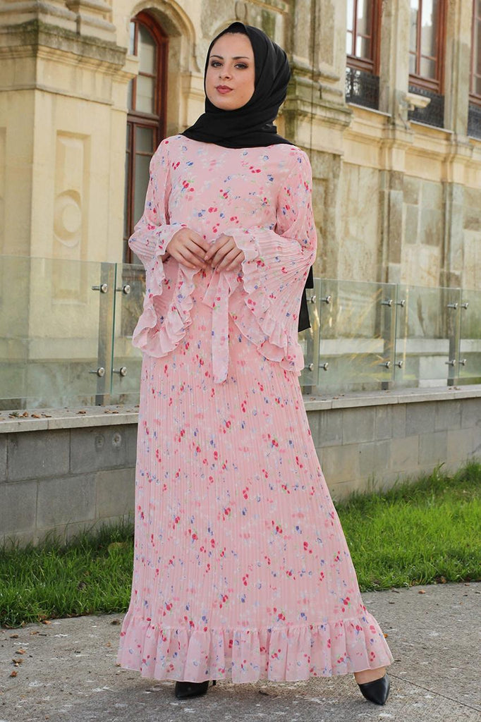 Pink Pleated Maxi Dress