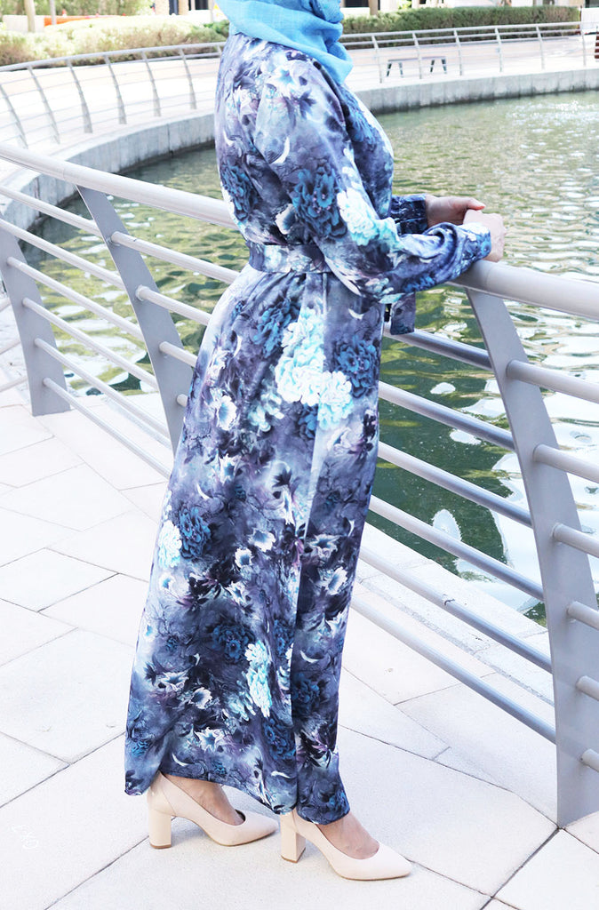 Blue Collared Maxi Dress