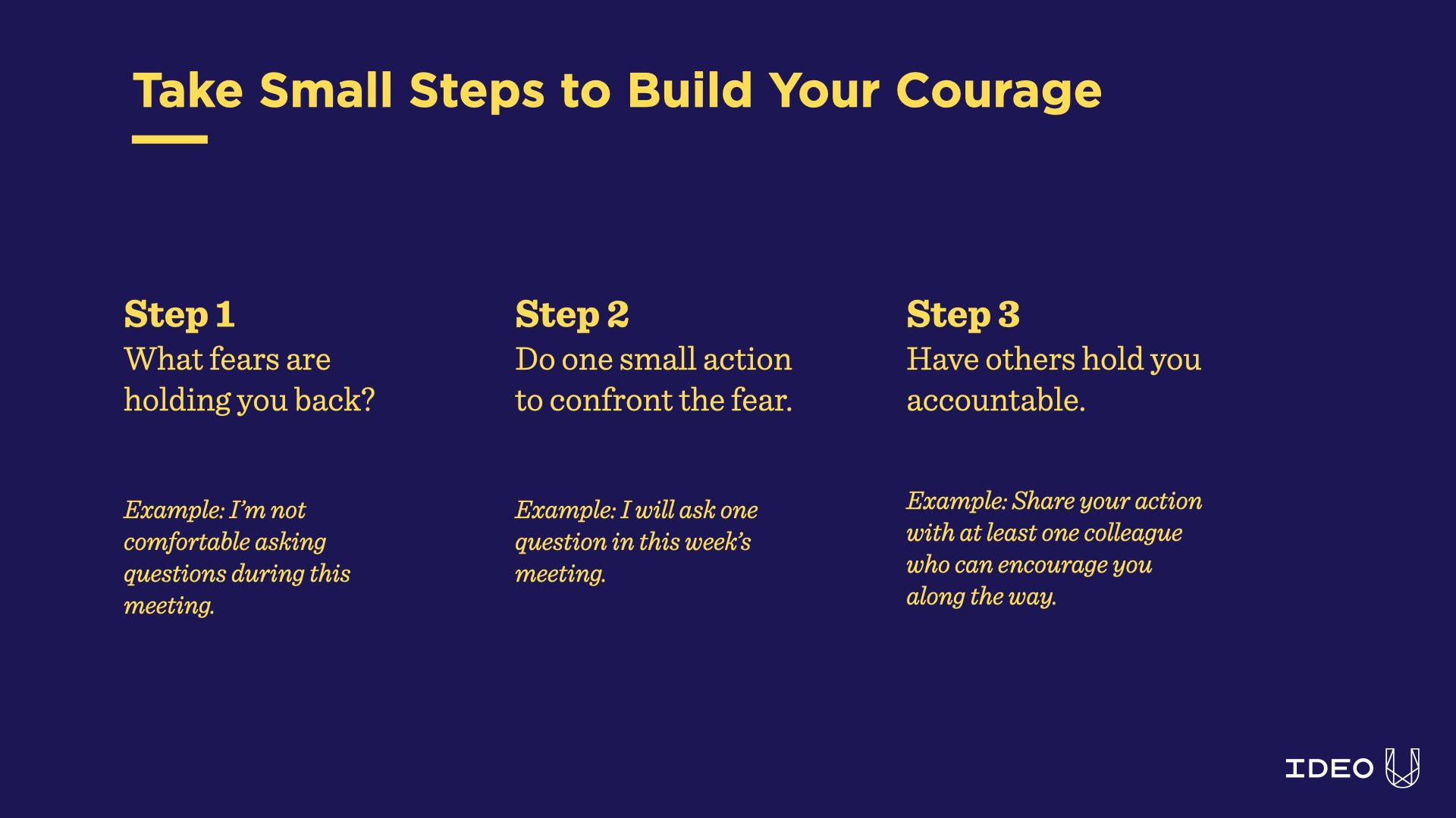 small steps to build courage