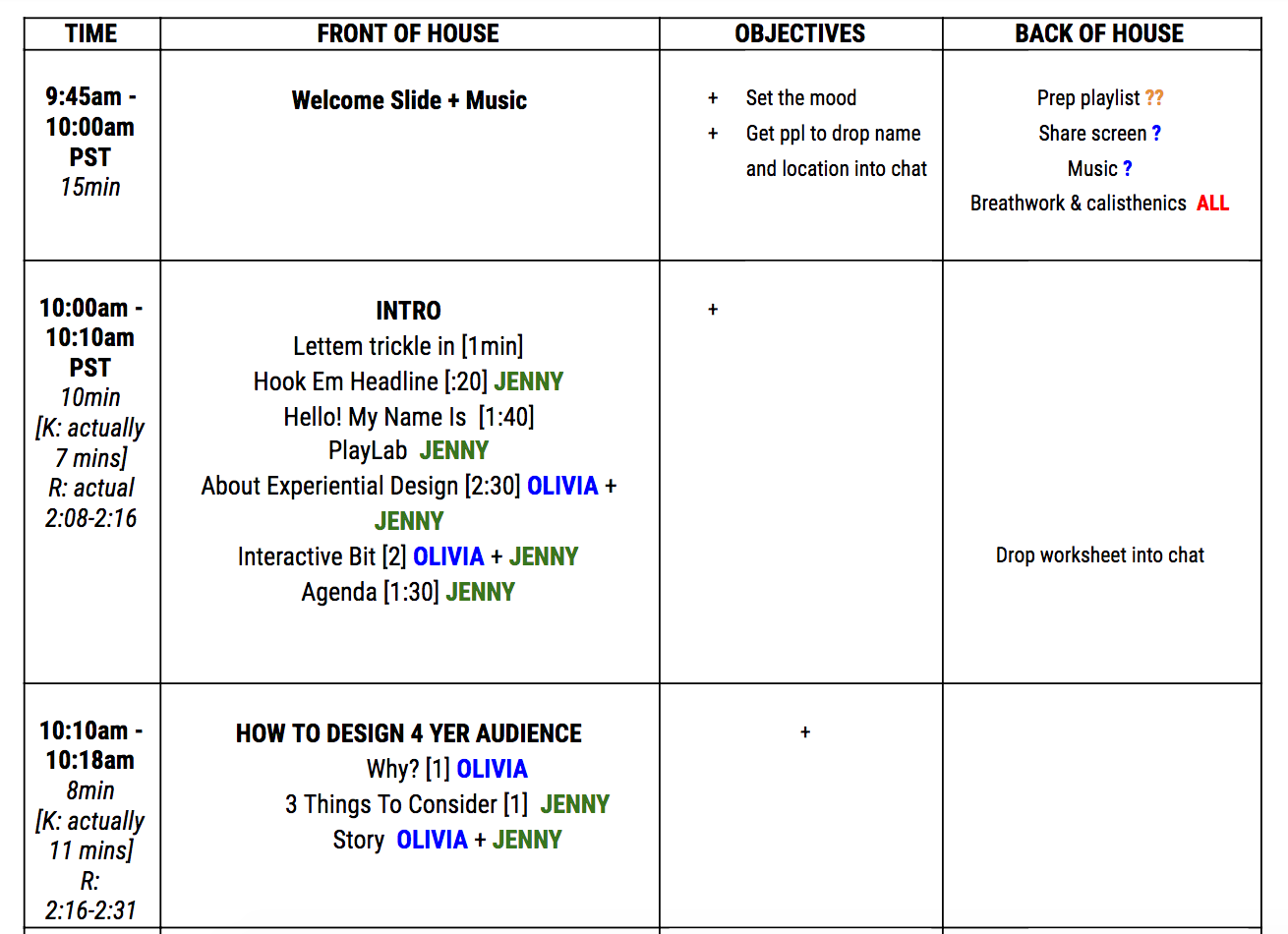 A screenshot of a spreadsheet showing the run of show for a virtual event.