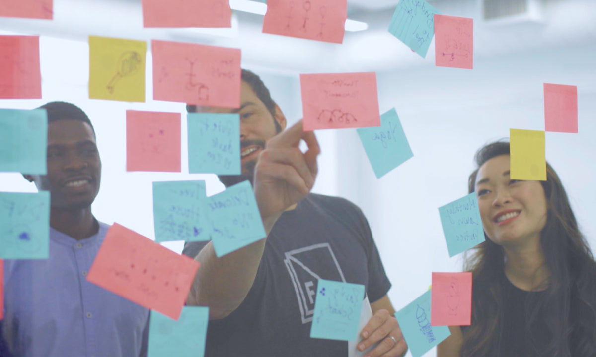 Design Thinking, People looking at stickie notes