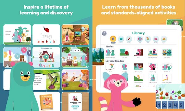 Screenshots of the Khan Academy Kids iPad app with colorful videos and lessons.