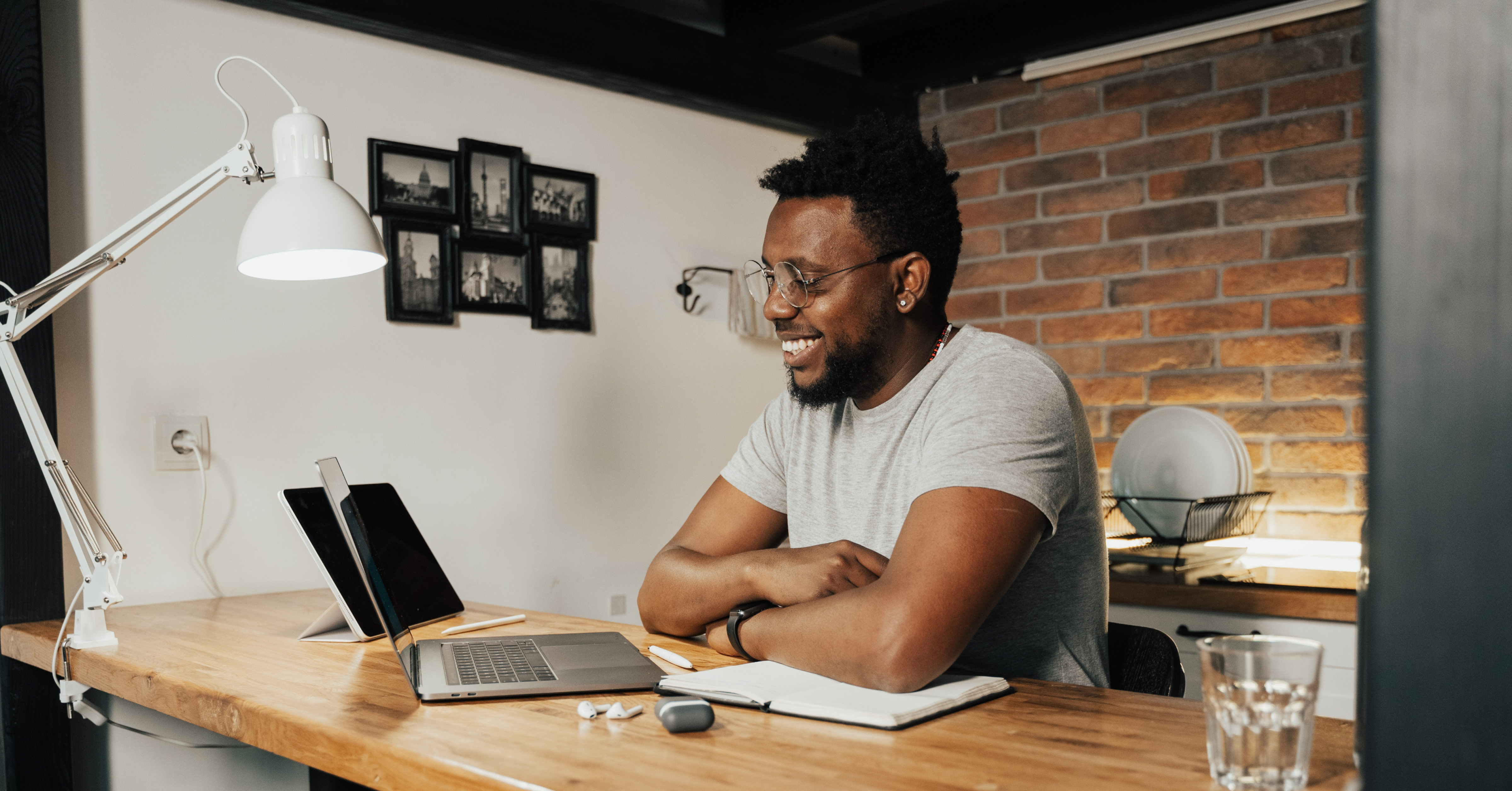 Man working at desk, home office