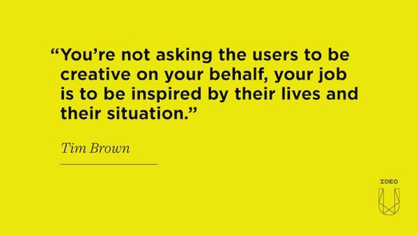 You're not asking the users to be creative on your behalf, your job is to be inspired by their lives and their situation