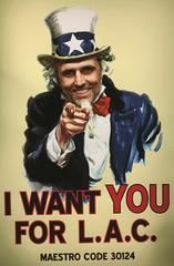 "Uncle Sam poster reading ""I want you for LAC"""