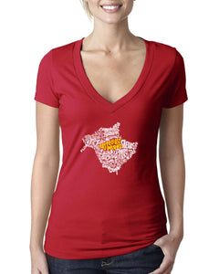 New Brunswick Map - East Coast Proud Ladies V-Neck Shirt