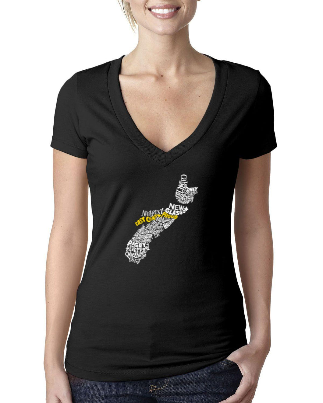 Nova Scotia Map - East Coast Proud Ladies V-Neck Shirt