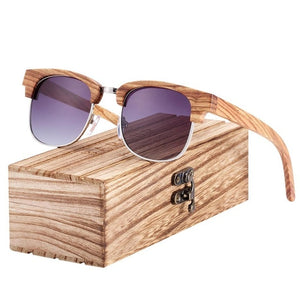 Polarized Zebra Wood Square Sunglasses