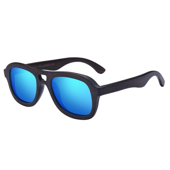 Classic Rectangular Wooden Sunglasses