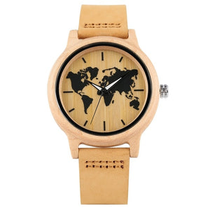 World Map Pattern Wooden Watch with Leather Strap