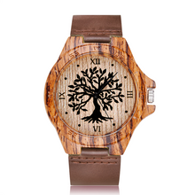 Tree of Life Pattern Wooden Watch with Leather Strap