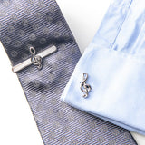 Music Note Tie Clips and Cufflinks Set Treble Clef Piano Score Cuff Button Necktie Clips For Mens Suits Wedding Business