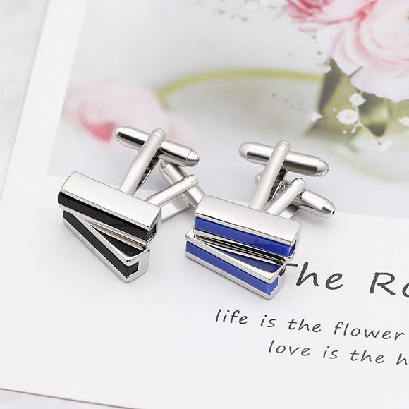 Silver Plated Rectangle Cufflinks with Colour Detail