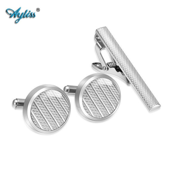 Stainless Steel Cufflinks and Tie Clip Bar Set with Box