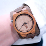 Men's Bamboo Dial Brown Leather Quartz Watch