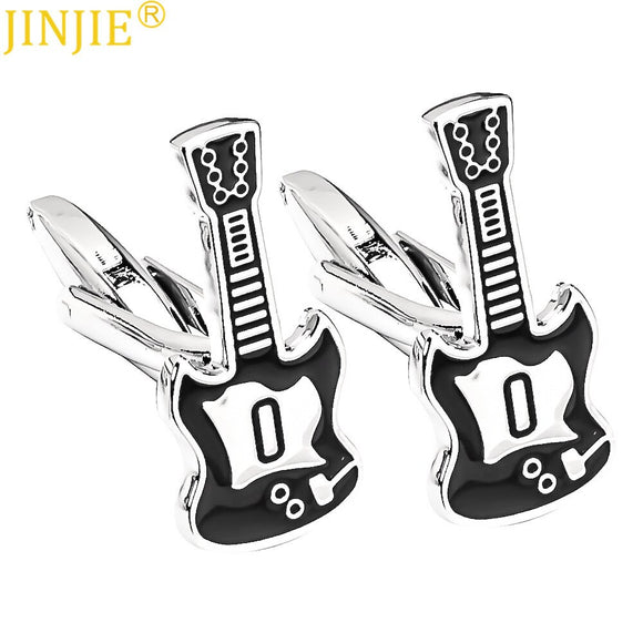 Hot Sell No.0 Black Guitar Punk Cufflinks Painted Cuff Nail Men's Business Casual French Shirt Cuff Buttons Novelty Cufflinks