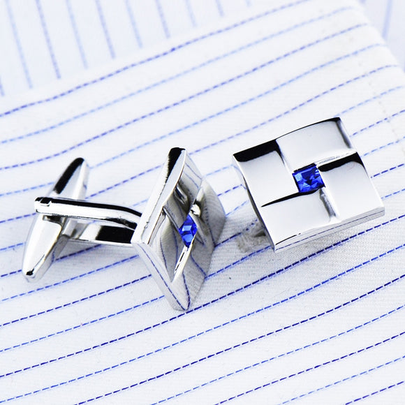 Cufflinks French Shirt Men's Suit Business Banquet Speech Wedding Gifts High Quality Classic Trendy Simple Blue Crystal Cufflink