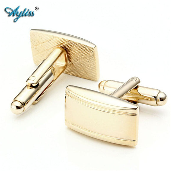 Silver or Gold Style Rectangle Stainless Steel Cufflinks with Wave Pattern