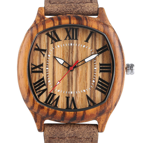 Elegant Men's Wood Watch with Genuine Leather Strap