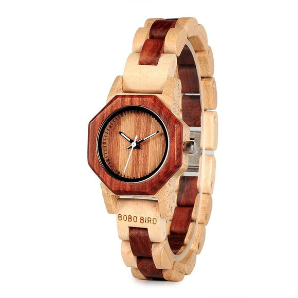 27mm Fashionable Women's Wooden Wristwatch with Wooden Band
