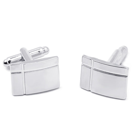 Silver Plated Rectangle Cross Engraved Cuff Links