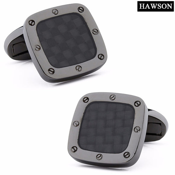 Carbon Fibre Style Square Cufflinks