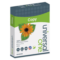 """100% Post-consumer Recycled Copy Paper. White, 8.5x11, 92 brite, 20lb. 500 sheets/ream. 10 reams/carton. Price is per carton. UNV-20100"