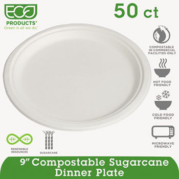 "Compostable Sugarcane Dinnerware, 9"" Plate, Natural White, 50/Pack  - ECOEPP013PK"