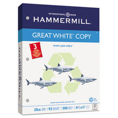 '30% PC Recycled. MultiUse 20 Paper. 8-1/2 x 11. 3-hole punched. 20-lb. 92 bright. White. 500 sheets/ream, 10 reams/carton. 5000/Case. HAM86702