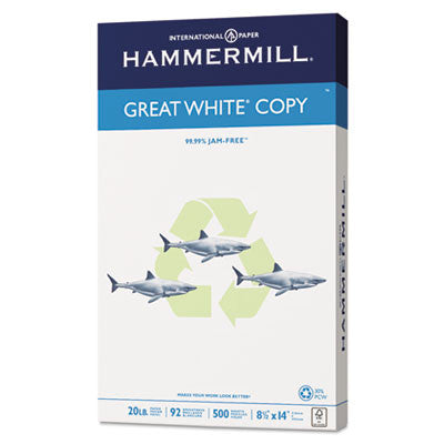 '30% PC Recycled. MultiUse 20 Paper. LEGAL SIZE 8.5 x 14. 20-lb. 92 bright. White. 500 sheets/ream, 10 reams/carton. SOLD PER REAM. HAM86704