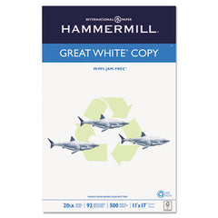 '30% PC Recycled. MultiUse 20 Paper. 11 x 17. 20-lb. 92 bright. White. 500 sheets/ream, 5 reams/carton. SOLD PER REAM. HAM86750