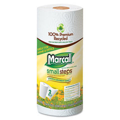 MRC-670915 	 MARCAL 2-ply Perforated Paper Roll Towels.100% Recycled, 60% PC. 11 x 9. White. 80 towels/roll, 15 rolls/carton.