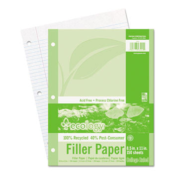 60% PRE &40% Post-consumer recycled Ecology Filler Paper, 8-1/2 x 11, COLLEGE RULE, 3-Hole Punch, WE, 150 Sheets/PK PAC3202