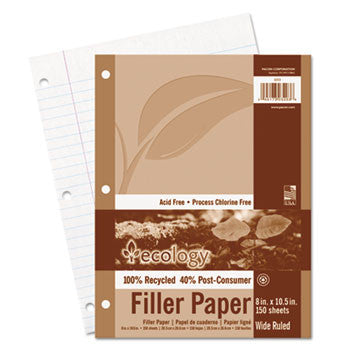 60% PRE &40% Post-consumer recycled Ecology Filler Paper, 8-1/2 x 11, WIDE RULE, 3-Hole Punch, WE, 150 Sheets/PK. CHECK AVAILABILITY!