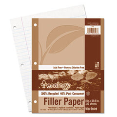60% PRE &40% Post-consumer recycled Ecology Filler Paper, 8-1/2 x 11, WIDE RULE, 3-Hole Punch, WE, 150 Sheets/PK