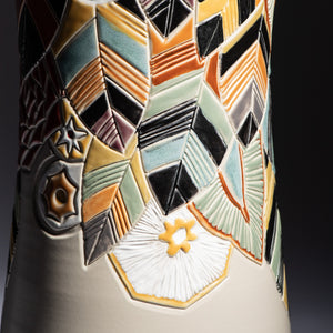 "Hand Thrown 18.25"" Decorated Statement Vase 140th Mark, #0034"