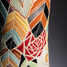 "Load image into Gallery viewer, Hand Thrown 18.25"" Decorated Statement Vase 140th Mark, #0034"