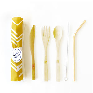 6 pc Eco Friendly Reusable Cutlery Set - Sunbeams Mustard