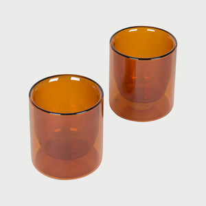 Double-Wall Glass, Set of 2, 6oz- Amber