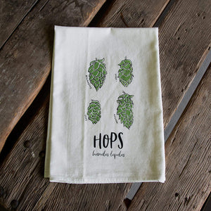 Hops Screen Printed Tea Towel